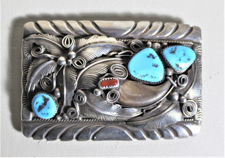 Mid Century American Navajo M Thomas Jr. Turquoise & Sterling Silver Belt Buckle