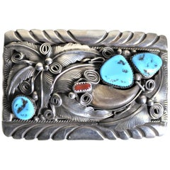 Mid-Century American Navajo M Thomas Jr. Turquoise & Sterling Silver Belt Buckle