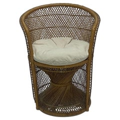 Mid-Century Natural Woven Rattan Side Chair with Cushion, 1970s