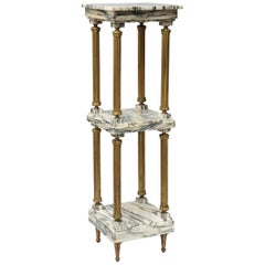 Midcentury Neoclassical Marble and Gilt Brass Three-Tier Étagère Shelf Stand