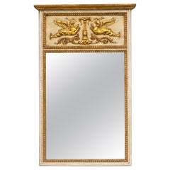 Midcentury Neoclassical Style Giltwood and Painted Trumeau Mirror by LaBarge