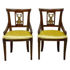 Midcentury Neoclassical Style Mahogany and Gilt Chairs, a Pair