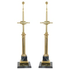 Midcentury Neoclassic Style Brass and Marble Table Lamps