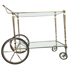 Mid Century Neoclassical Style Brass Bar Cart by Maison Jansen