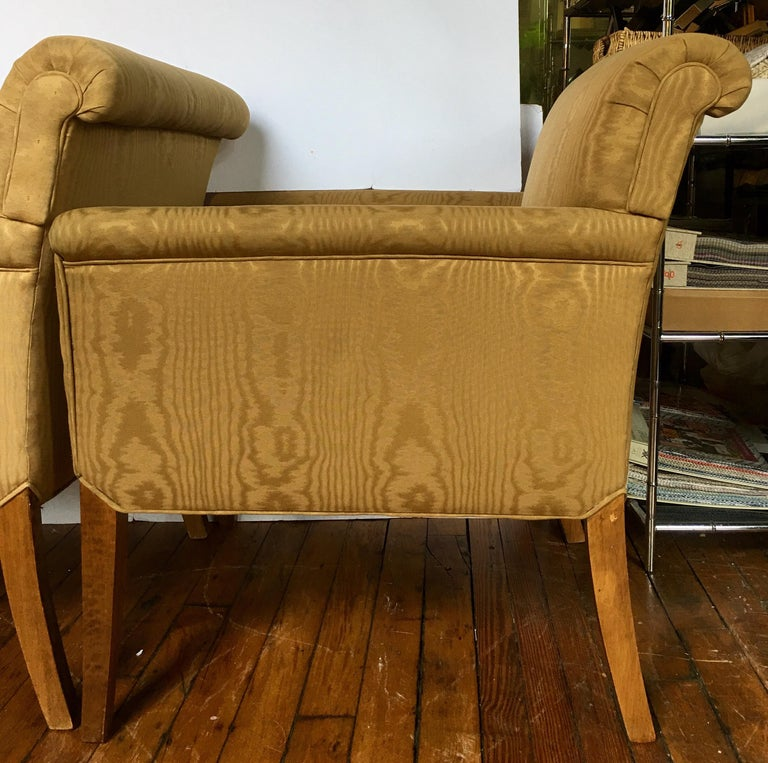 Midcentury Neoclassical Style Moire Faux Bois Lounge Accent Chairs, Pair In Good Condition For Sale In Lambertville, NJ
