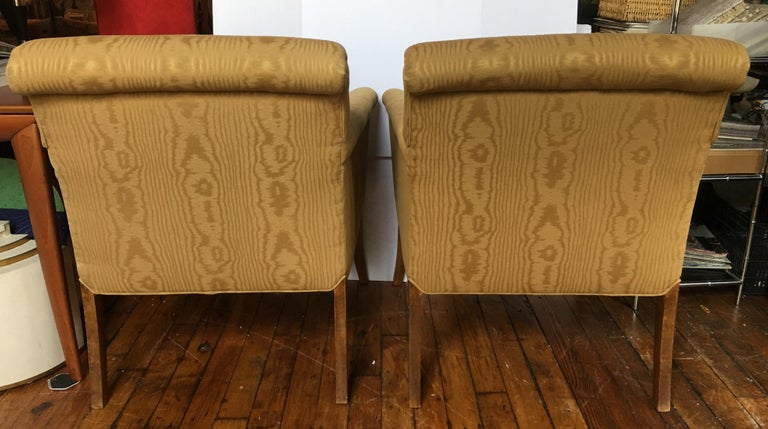 Late 20th Century Midcentury Neoclassical Style Moire Faux Bois Lounge Accent Chairs, Pair For Sale