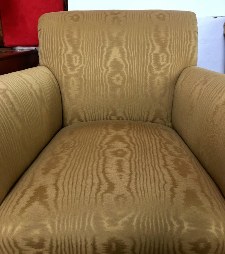Upholstery Midcentury Neoclassical Style Moire Faux Bois Lounge Accent Chairs, Pair For Sale