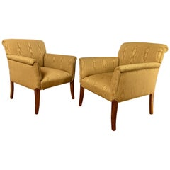 Midcentury Neoclassical Style Moire Faux Bois Lounge Accent Chairs, Pair