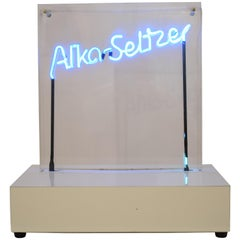 "Midcentury Neon Sign Blue ""Alka Seltzer"" in a Acrylic Showcase, 1970s"