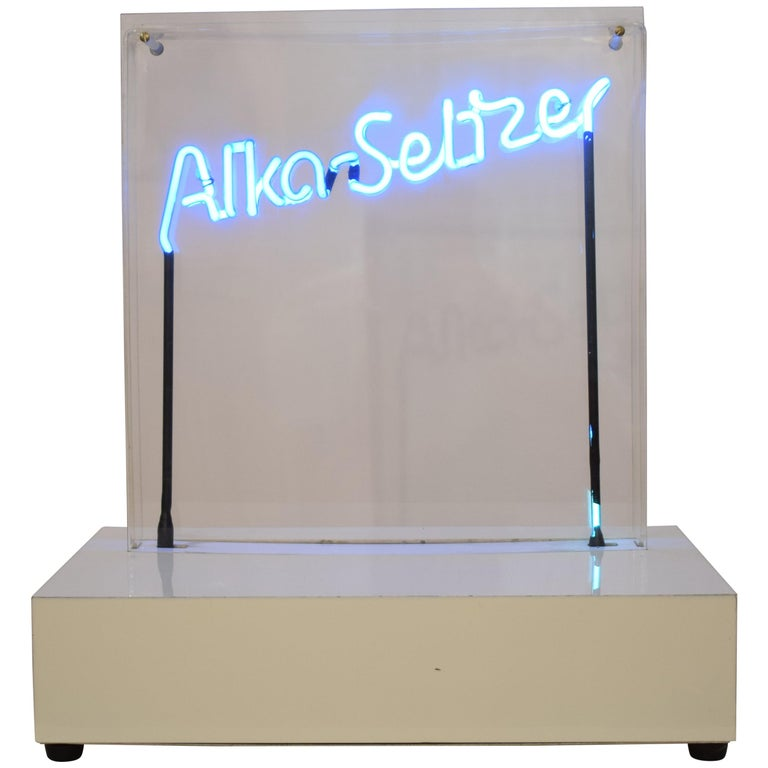 "Midcentury Neon Sign Blue ""Alka Seltzer"" in a Acrylic Showcase, 1970s For Sale"