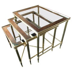 Mid Century Nest of Tables 3 Brass Glass and Mirror Frame Maison Bagues
