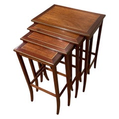 Mid Century Nesting Tables, Mahogany & Brass Bound & Brass Inlay