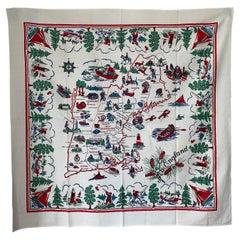 Mid-Century New England Souvenir Table Cloth