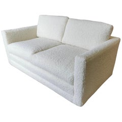 Mid Century Newly Reupholstered Sofa Loveseat Done in Boucle Fabric for Brickel