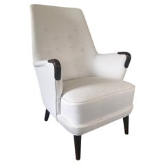 Midcentury Newly Upholstered Cream Armchair with Exposed Wood Detail at Arms