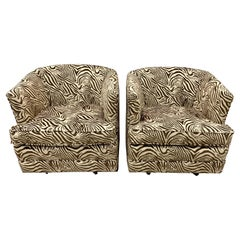 Mid Century Newly Upholstered Swivel Chairs in Zebra Print