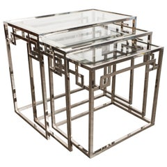 Midcentury Nickel Nesting Tables with Greek Key Detailing and Mirrored Border