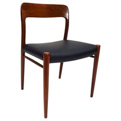 Midcentury Niels O.Møller Teak and Black Leather Model 75 Chair