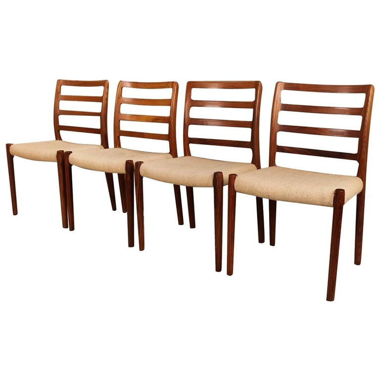 Midcentury Niels Otto Moller Model 85 Rosewood Dining Chairs For Sale