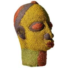 Nigerian Female Head Sculpture in Colored Beads
