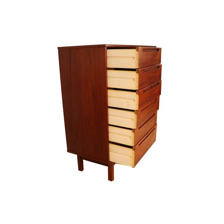 Midcentury Nils Jonsson Teak Tall Dresser Danish Modern For Sale 2