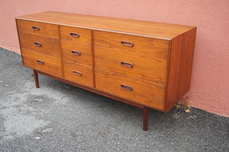 Scandinavian Modern Mid-Century Nine-Drawer Teak Dresser For Sale