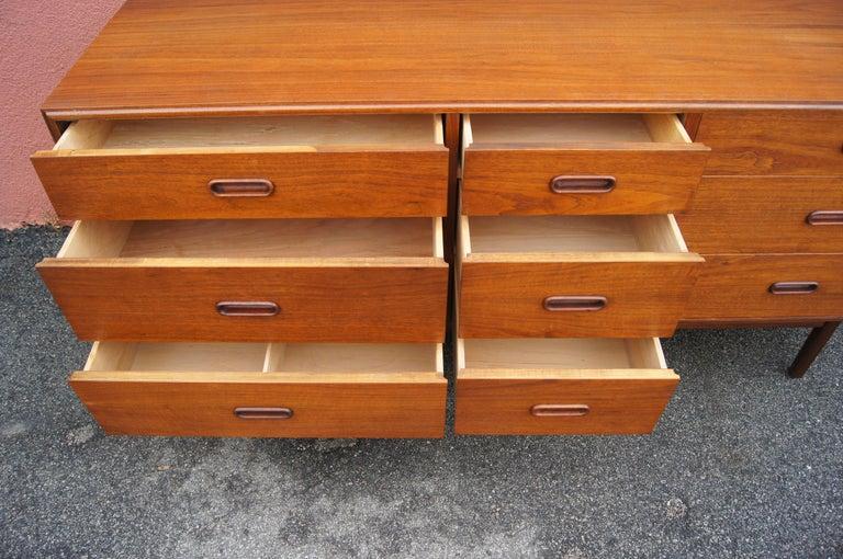 Mid-20th Century Mid-Century Nine-Drawer Teak Dresser For Sale