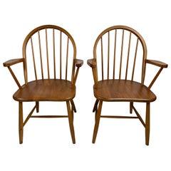 Mid-Century Nordisk Andels-Eksport Teak Captain Chairs, a Pair