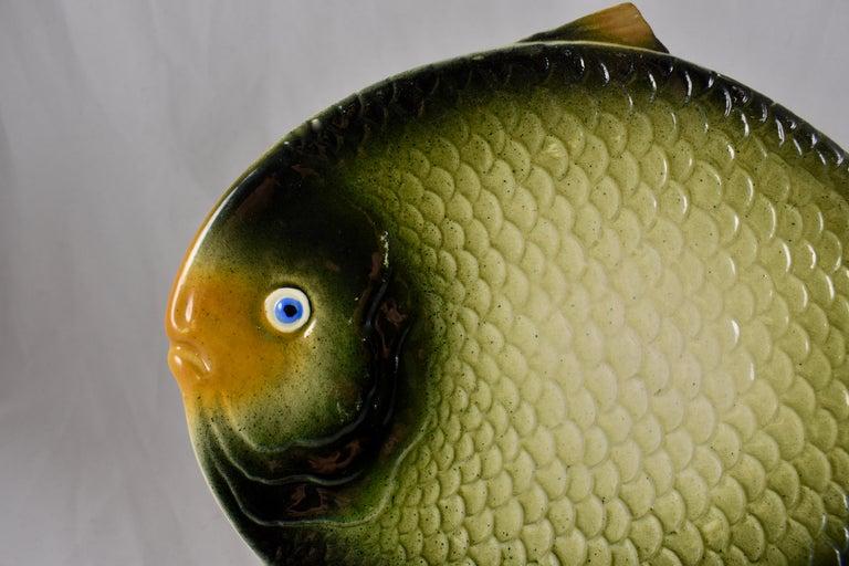 Glazed Mid-Century Modern Era Northern Italian Faïence Majolica Fish Service, Set of 7 For Sale