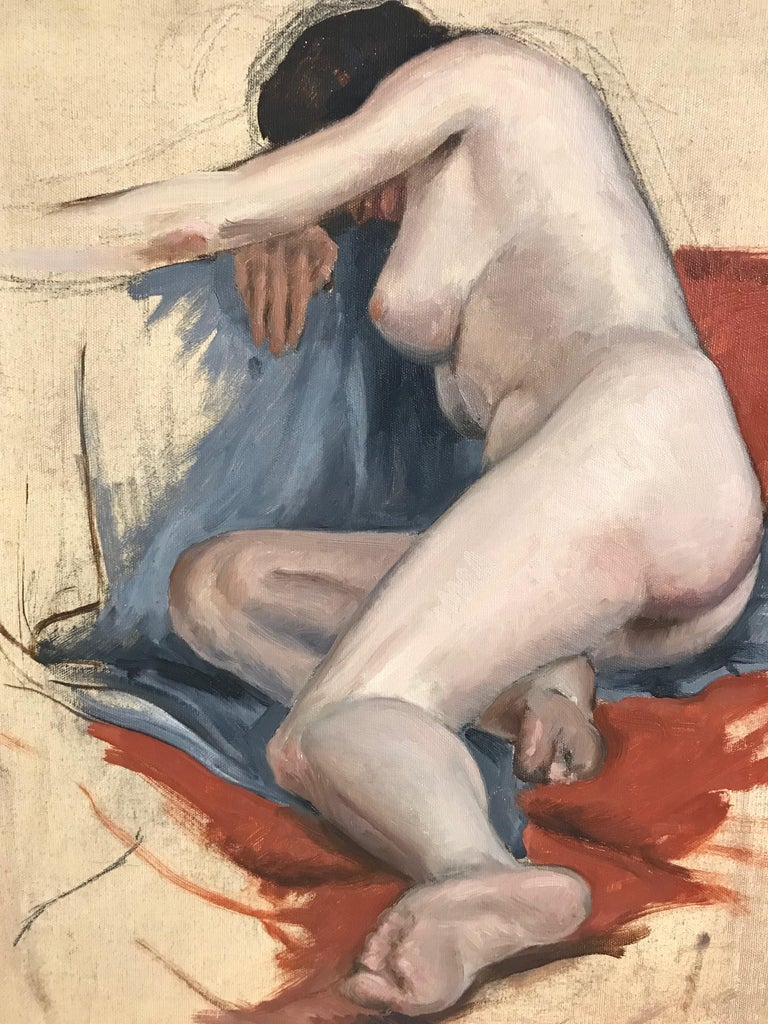A nude study painted on canvas, unframed, dated April 23rd 1938.