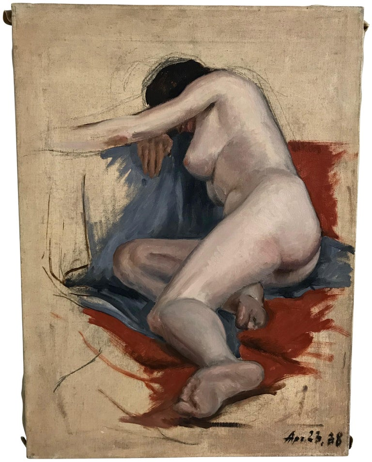 American Midcentury Nude Study Painting 1938 For Sale