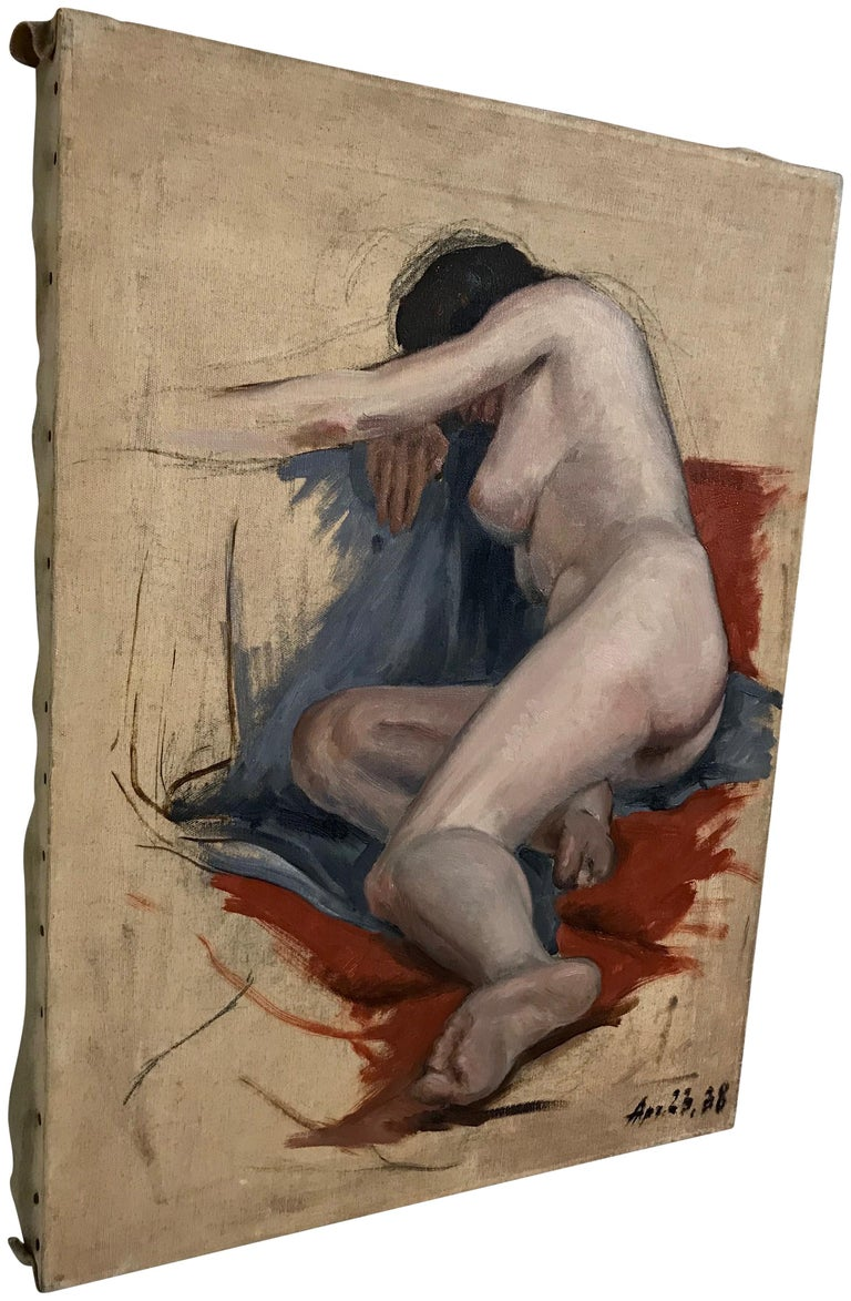 Hand-Painted Midcentury Nude Study Painting 1938 For Sale