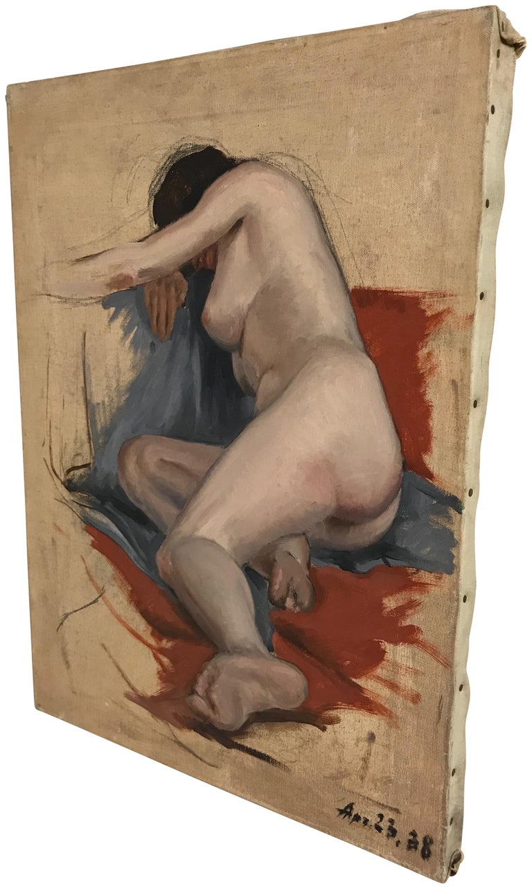 Midcentury Nude Study Painting 1938 In Good Condition For Sale In San Francisco, CA
