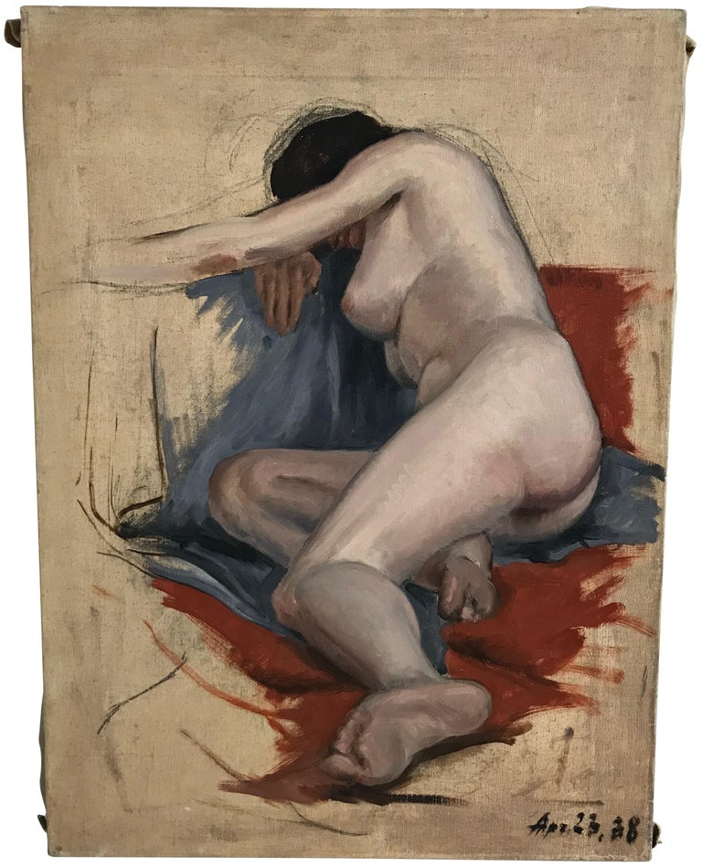 Midcentury Nude Study Painting 1938 For Sale 2