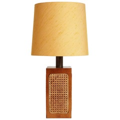 Midcentury Oak and Cane Table Lamp