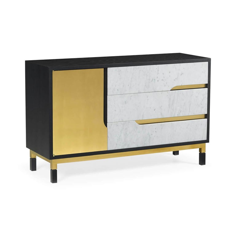 Mid-Century Modern Midcentury Oak and Marble Cabinet For Sale
