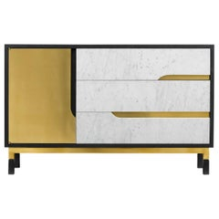 Midcentury Oak and Marble Cabinet