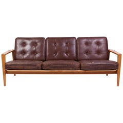 "Mid Century Oak & Leather Sofa Model ""Kastrup"" by Erik Wørtz"