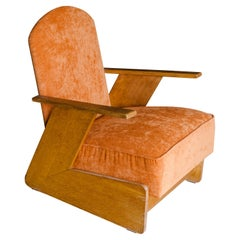 Mid Century Oak Lounge Chair from The Netherlands, Circa 1960