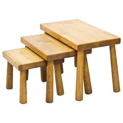 Mid-Century Oak Nesting Tables