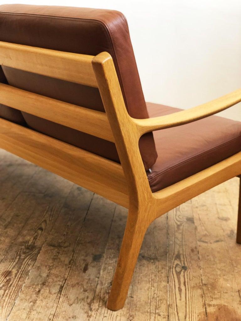 Midcentury Oak Sofa Model Senator by Ole Wanscher for Poul Jeppesens For Sale 4