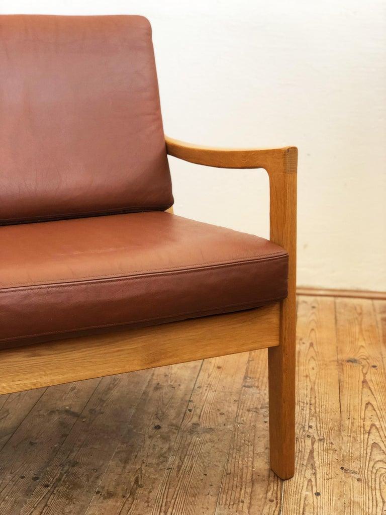 Midcentury Oak Sofa Model Senator by Ole Wanscher for Poul Jeppesens For Sale 5