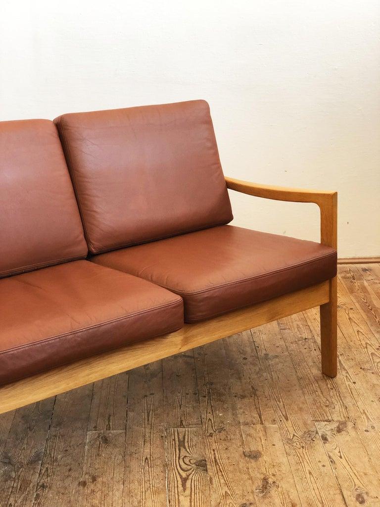 Midcentury Oak Sofa Model Senator by Ole Wanscher for Poul Jeppesens For Sale 6