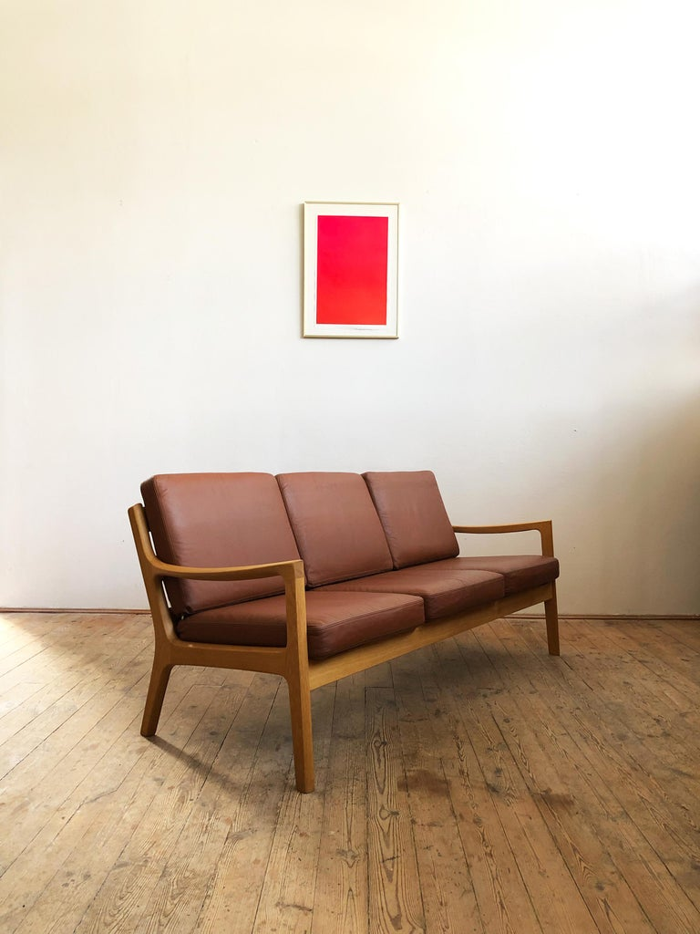 Mid-Century Modern Midcentury Oak Sofa Model Senator by Ole Wanscher for Poul Jeppesens For Sale