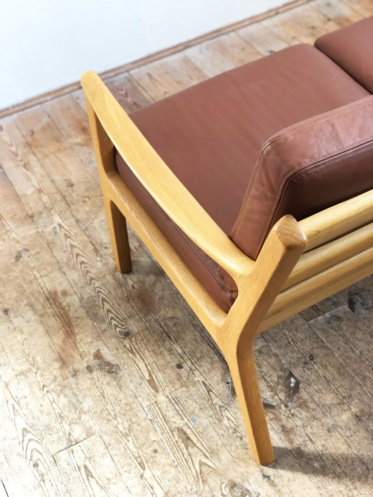 Leather Midcentury Oak Sofa Model Senator by Ole Wanscher for Poul Jeppesens For Sale