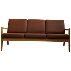 Midcentury Oak Sofa Model Senator by Ole Wanscher for Poul Jeppesens