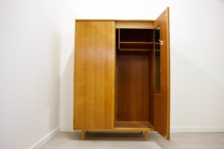 Veneer Midcentury Oak Wardrobe by John & Sylvia Reid for Stag, 1950s For Sale