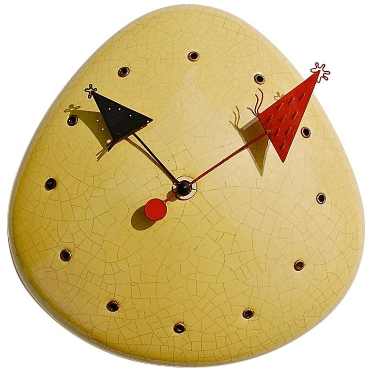 Midcentury Object d'Art Wall Clock, 1950s Germany For Sale