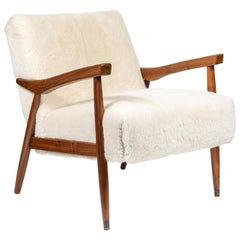 Mid Century Occasional Chair, Newly Upholstered in White Shearling