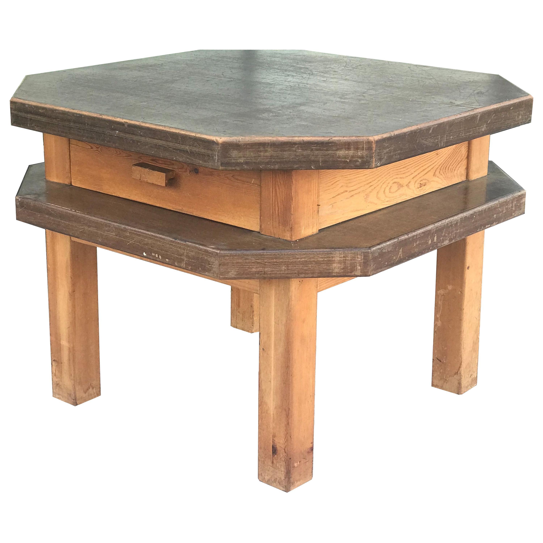 Spanish Mid Century Modern Octagonal Side or Center Table in Walnut